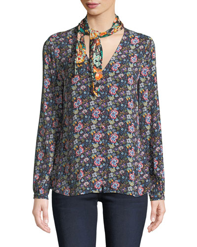 Open Scarf V-Neck Long-Sleeve Floral-Print Blouse