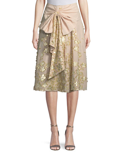 Metallic Floral Cotton Skirt with Bow