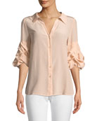 Crush-Sleeve Silk Blouse