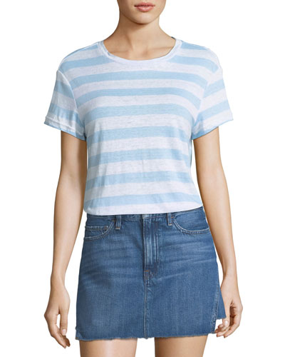 Classic Crewneck Striped Linen Tee