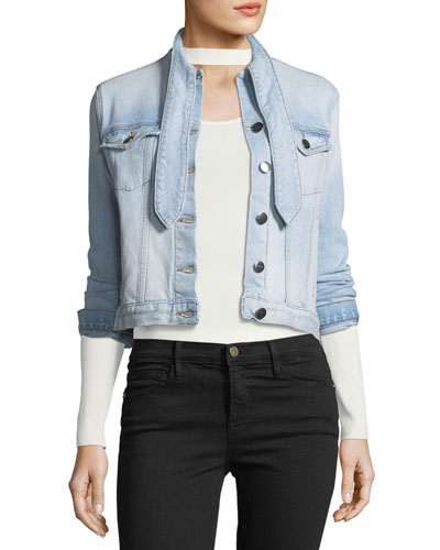 Le Tie-Neck Button-Front Light-Wash Denim Jacket