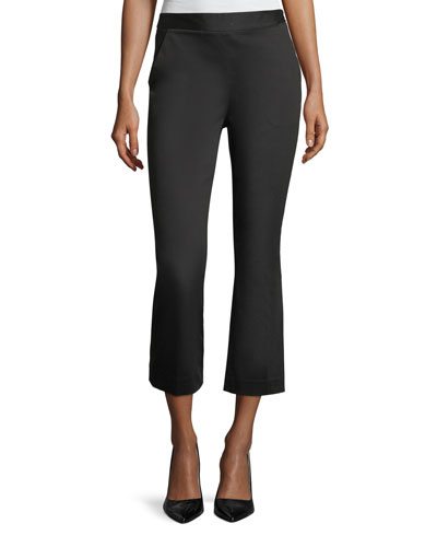 High-Waist Kick-Flare Sateen Capri Pants