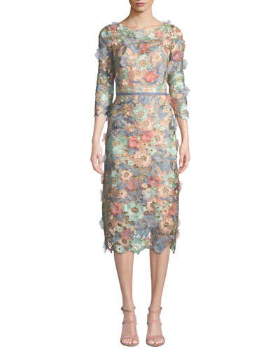 3D Floral Guipure Lace V-Back Midi Cocktail Dress