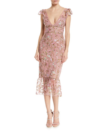 Sequin Embroidered Flutter-Sleeve Cocktail Dress