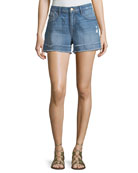 Le Grand Garcon Frayed Cuff Denim Shorts