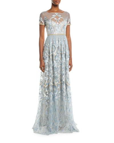 Embroidered Gown w/ Metallic Lace Trim