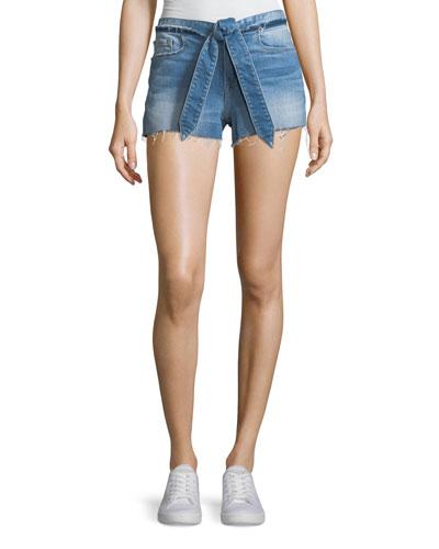 Le Cutoff Released Tie-Waist Denim Shorts