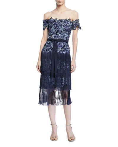 Embroidered Strapless Fringe Cocktail Dress