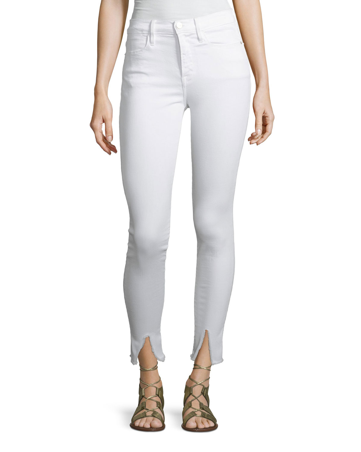 Le High Skinny-Leg Jeans with Raw Front Slit