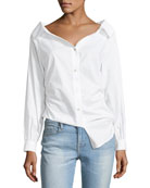 Bateau-Neck Button-Front Cinched Poplin Oxford Shirt