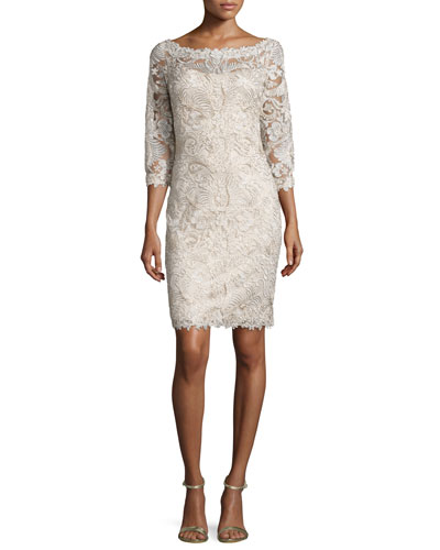 3/4-Sleeve Lace Cocktail Dress, Navy