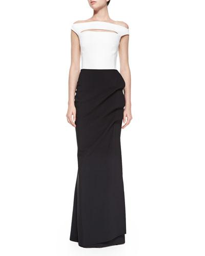 Off-the-Shoulder Colorblock Ruched Long Dress