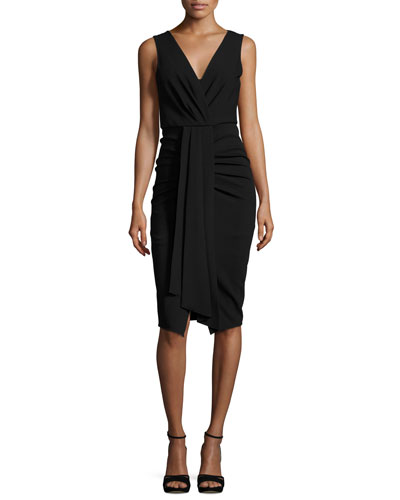 Sleeveless Draped Stretch Crepe Sheath Dress
