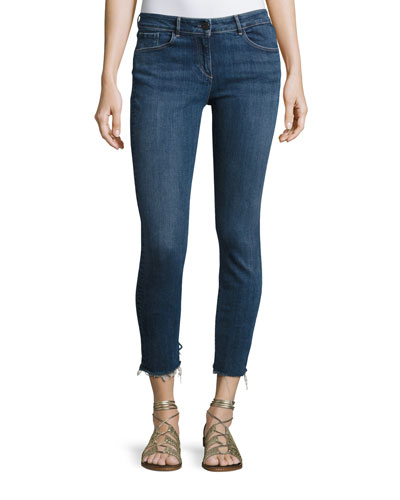 W2 Mid-Rise Skinny Cropped Frayed Jeans