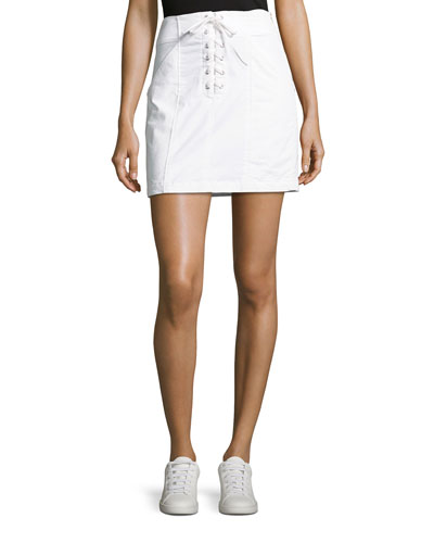 Kylie Laced-Front Cotton Mini Skirt