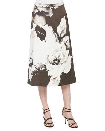 Zarita Vintage Roses Printed Tea-Length Skirt