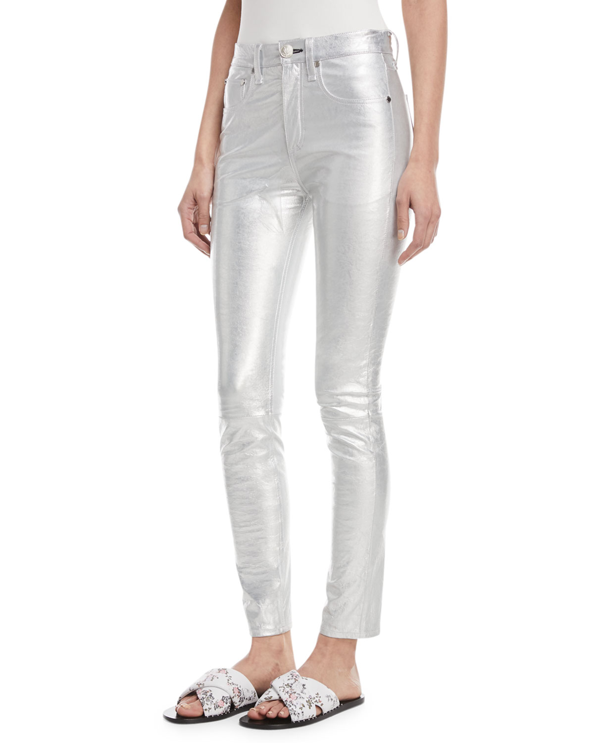 High-Rise Skinny-Leg Metallic Leather Pants