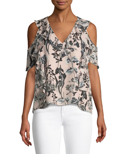 Tudor V-Neck Cold-Shoulder Floral-Print Silk Top