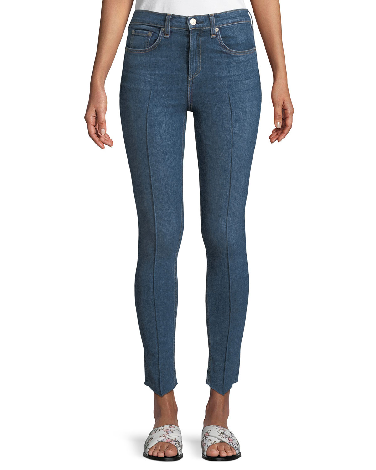 High-Rise Skinny-Leg Ankle Jeans w/ Pintucking