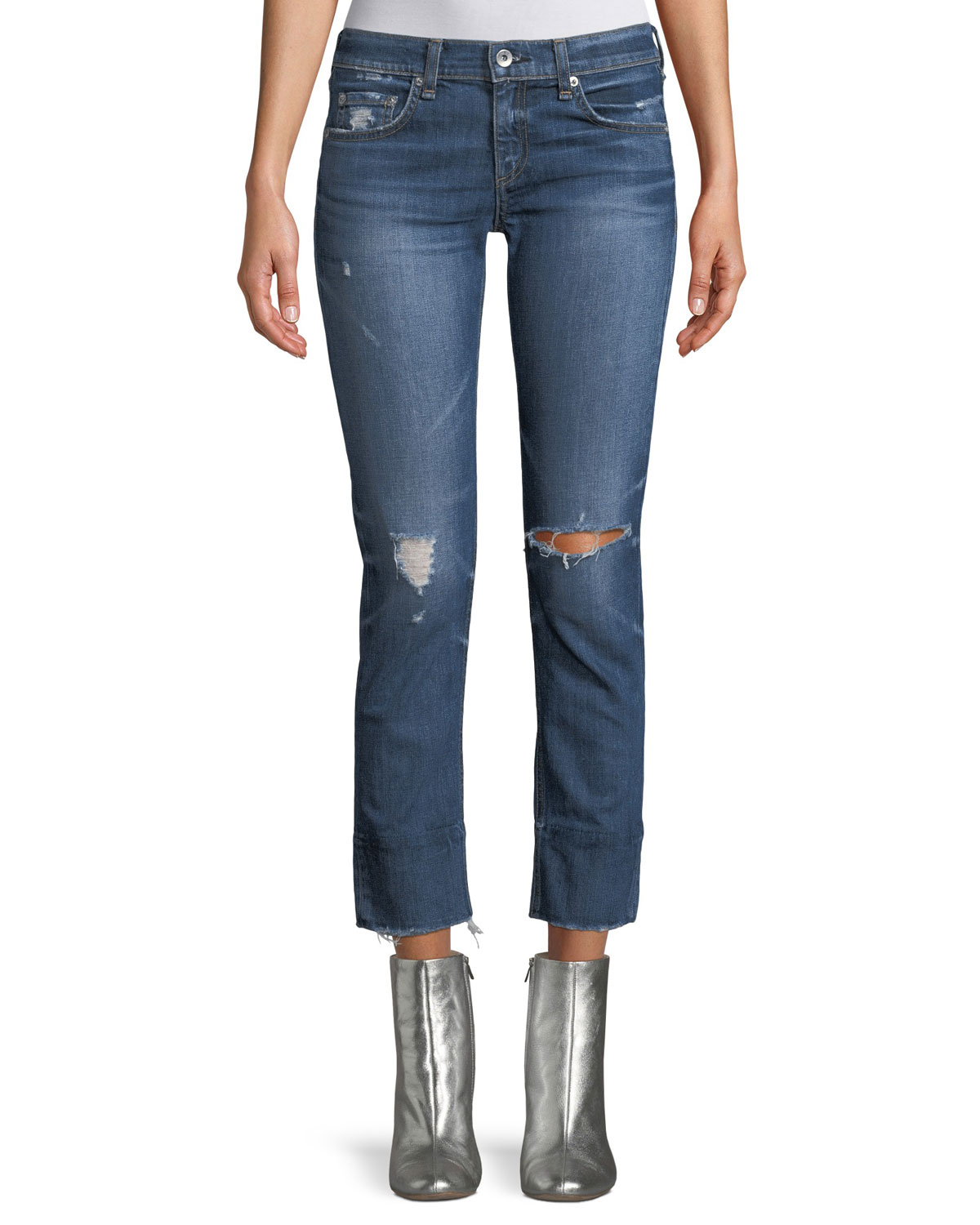 Dre Distressed Straight-Leg Jeans