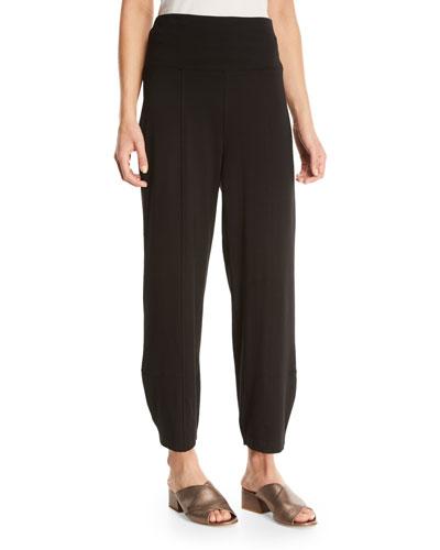 Organic Stretch Cotton Fold-Waist Cropped Lantern Pants, Plus Size