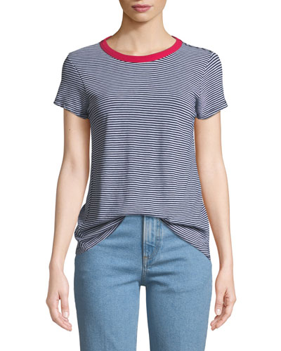 Crewneck Short-Sleeve Striped Cotton Tee