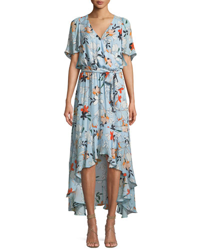 Demi Floral-Print Silk Wrap Dress