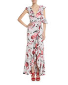 The Beckman Ruffle Floral High-Low Gown