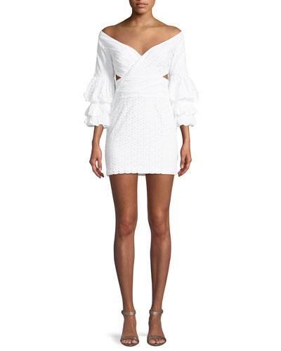 The Brittany Eyelet Double Trumpet-Sleeve Mini Dress