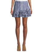 Zoro Striped Linen Mini Skirt
