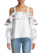 Upton Square-Neck Cold-Shoulder Embroidered Poplin Blouse