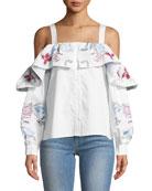 Upton Square-Neck Cold-Shoulder Embroidered Poplin Blouse