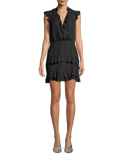 Tangia Sleeveless Surplice Silk Ruffled Dress