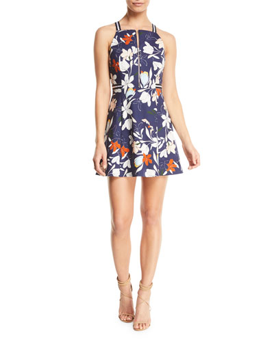 Ronen Floral-Print Zip-Front Mini Dress