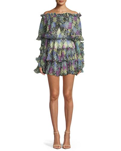Dahlia Off-the-Shoulder Ruffled Printed Metallic Dress