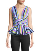 Paros Plunging Sleeveless Striped Peplum Top