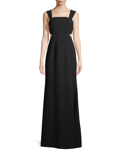 Cutout Square-Neck Sleeveless Gown