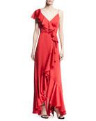 V-Neck A-Line Asymmetric Ruffle Gown