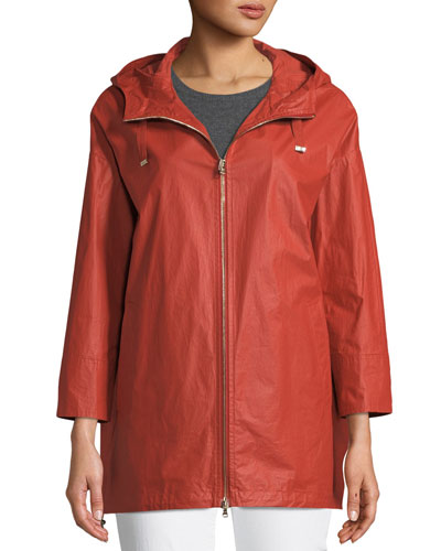 Waxed Cotton A-Line Raincoat w/ Hood