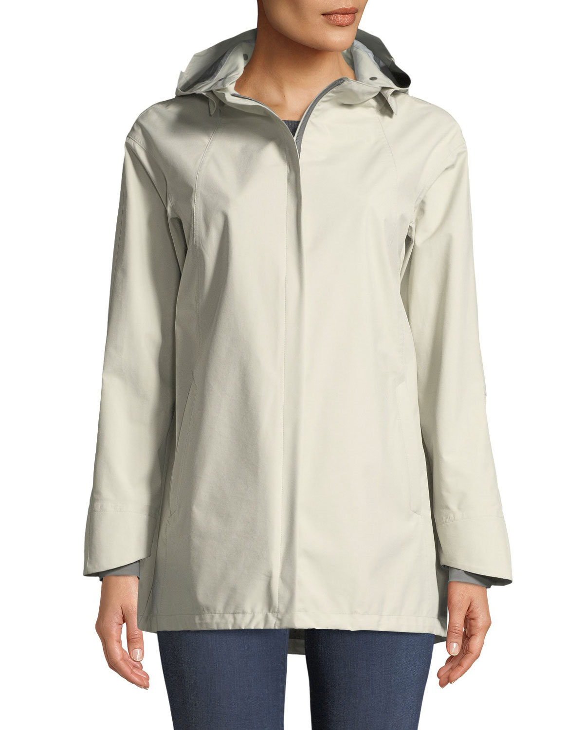 Three-Ply Raincoat w/ Removable Hood