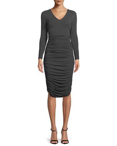 Ruched V-Neck Long-Sleeve Dress
