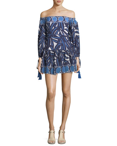 Laila Off-the-Shoulder Printed Short Dress