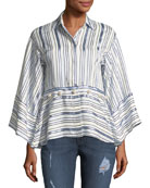 Adette Striped Bell-Sleeve Top w/ Removable Hem