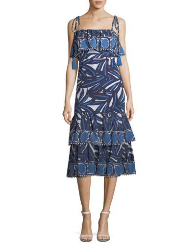Faretta Square-Neck Mixed-Print Cotton Midi Dress