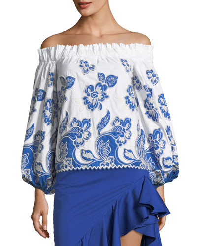 Galiena Off-the-Shoulder Blouson-Sleeve Embroidered Top