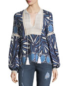 Ciela Lace-Bib Long-Sleeve Printed Cotton Top