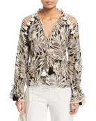 Seila Split-Neck Long-Sleeve Palm-Print Top