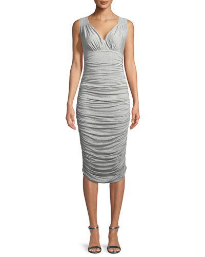 Tara Ruched Sleeveless V-Neck Dress