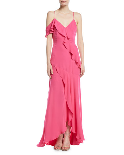 Emilia Asymmetric Ruffle High-Low Gown