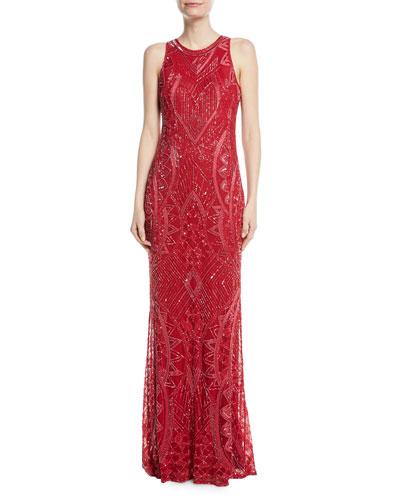 Seanna Beaded Sleeveless Column Gown